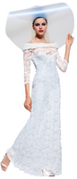 Olvi's Trend White Off the Shoulder Lace Dress with Fur Collar Trim