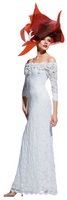 Olvi's Trend White Off the Shoulder Lace Dress with Floral and Beaded Collar Trim