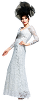 Olvi's Trend White V-Neck Lace Dress with Embroidered and Beaded Design