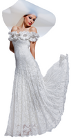 Olvi's Trend White Off the Shoulder Lace Dress with Floral Collar Trim