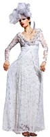 Olvi's Trend White V-Neck Lace Dress with Floral Collar Trim