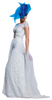 Olvi's Trend White Yoke Lace Dress with Beaded Design and Mesh Train