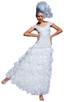 Olvi's Trend White V-Neck Ruffled Lace Dress and Beaded Accents