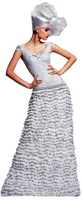 Olvi's Trend White V-Neck Horizontal Ruffled Lace Dress with Beaded Accents