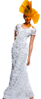 Olvi's Trend White Scoop Neck Floral Designed Lace Dress with Beaded Accents
