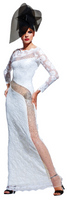 Olvi's Trend White Lace Dress with See Through Mesh and Crystal Accents