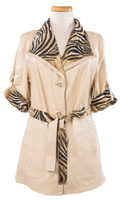 Alice Arthur Safari Short Sleeve Carmel Leather and Tiger Print Fabric Coat