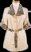 Alice Arthur Safari Short Sleeve Carmel Leather and Tiger Print Fabric Coat