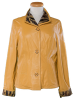 Alice Arthur Button Down Camel and Tiger Print Fabric Coat