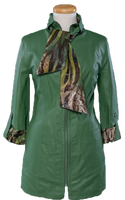 Alice Arthur Emerald Green 3/4 Sleeve Fitted Leather and Tiger Print Fabric Coat