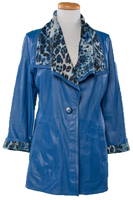 Alice Arthur Navy Blue Button Down Leather and Animal Print Coat