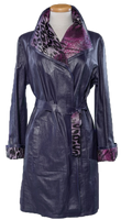 Alice Arthur Amethyst Purple Long Leather and Animal Print Lining Coat