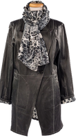 Alice Arthur Dark Grey Cross Chest Button Front Fabric Lining Coat