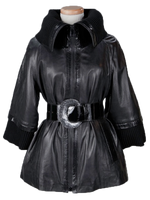 Alice Arthur Black Leather and Knit Lining Coat