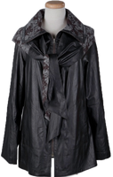 Alice Arthur Black Leather Zippered Front Fabric Lined Coat