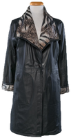 Alice Arthur Black Single Button Closure Leather and Animal Print Coat