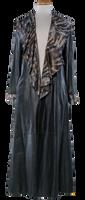 Alice Arthur Long Black Ruffled Collar Leather and Fabric Coat