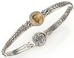 Konstantino Kerma Bronze & Sterling Silver Coin Bangle Bracelet