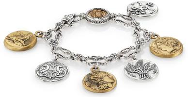 Konstantino Kerma Bronze & Sterling Silver Coin Charm Bracelet