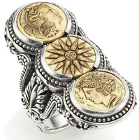 Konstantino Kerma Bronze & Sterling Silver Handmade Three-Coin Ring