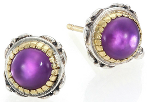 Konstantino Erato Amethyst, 18K Yellow Gold & Sterling Silver Stud Earrings