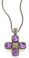 Konstantino Erato Amethyst, 18K Yellow Gold & Sterling Silver Square Cross Pendant