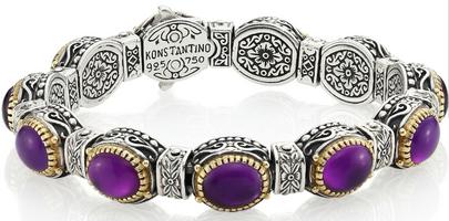 Konstantino Erato Amethyst, 18K Yellow Gold & Sterling Silver Bracelet