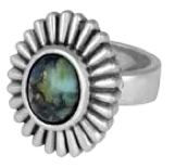 King Baby Studio Small Starburst Concho Ring with Top Hat Spotted Turquoise