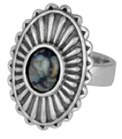 King Baby Studio Large Starburst Concho Ring with Top Hat Spotted Turquoise