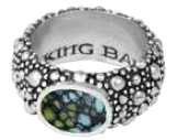 King Baby Studio Stingray Texture Ring with Top Hat Spotted Turquoise