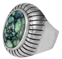 King Baby Studio Arrayed Cabochon Ring with Top Hat Spotted Turquoise