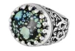 King Baby Studio Baroque Scroll Ring with Top Hat Spotted Turquoise