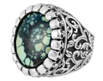 King Baby Studio Medium Baroque Scroll Ring with Top Hat Spotted Turquoise
