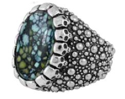King Baby Studio Stingray Texture Ring with Top Hat Spotted Turquoise Cabochon with in Skull Bezel