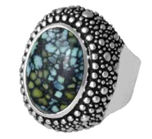King Baby Studio Stingray Texture Cabochon Ring with Top Hat Spotted Turquoise