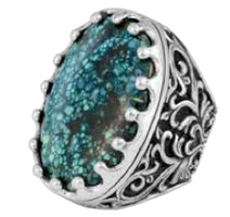 King Baby Studio Great Baroque Scroll Ring with Top Hat Spotted Turquoise