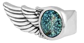 King Baby Studio Wing Ring with Top Hat Spotted Turquoise