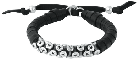King Baby Studio Thick Natural Wrap Black Leather Bracelet with Star Snake Links