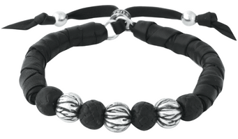 King Baby Studio Thick Natural Wrap Black Leather Bracelet w/ Silver and Leather Beads