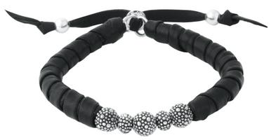 King Baby Studio Thin Natural Wrap Black Leather Bracelet with Stingray Beads