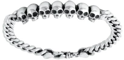 King Baby Studio Curb Link ID Bracelet with Infinity Skulls