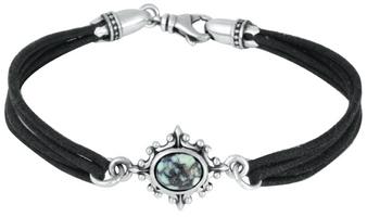 King Baby Studio Black Multi Strand Bracelet with 8x10mm Turquoise in Baroque Frame