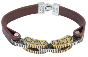 King Baby Studio Burgundy Leather Strap Bracelet with Silver and Alloy Rotor Links