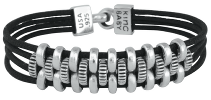 King Baby Studio Interlocked Coin Edge Link Bracelet on Four Black Leather Braids