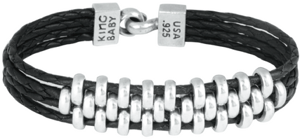 King Baby Studio Interlocked Link Bracelet on Four Black Leather Braids