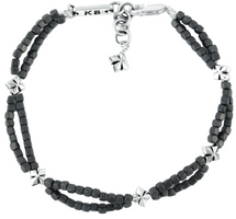 King Baby Studio Grey Square Hematite Double Strand Bracelet with MB Crosses