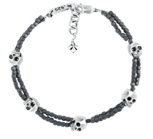 King Baby Studio Grey Square Hematite Double Strand Bracelet with Skulls