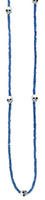 King Baby Studio Blue Square Hematite Bead Necklace with 7 Skull Stations