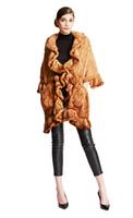 Bella Fare Knitted Mink Wrap W/ Ruffles & Pockets