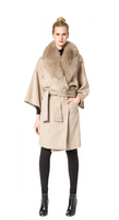 Belle Fare Cashmere Wrap Coat With Fox Collar